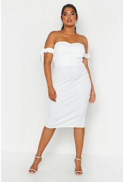Womens Ivory Plus Bardot Tie Sleeve Midi Dress