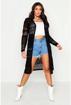 Black Plus Crochet Knitted Long Line Cardigan