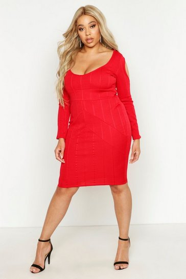 Red Plus Sculpt Bandage Open Shoulder Midi Dress
