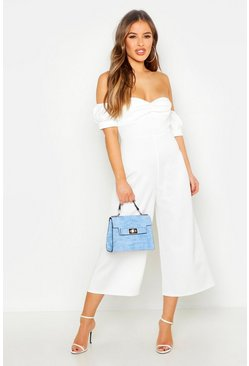 Dam Ivory Petite Sweetheart Off The Shoulder Jumpsuit