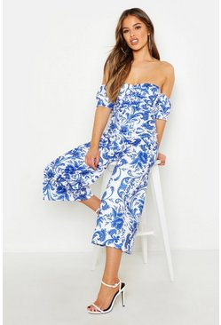 Womens Blue Petite Off The Shoulder Porcelain Print Jumpsuit