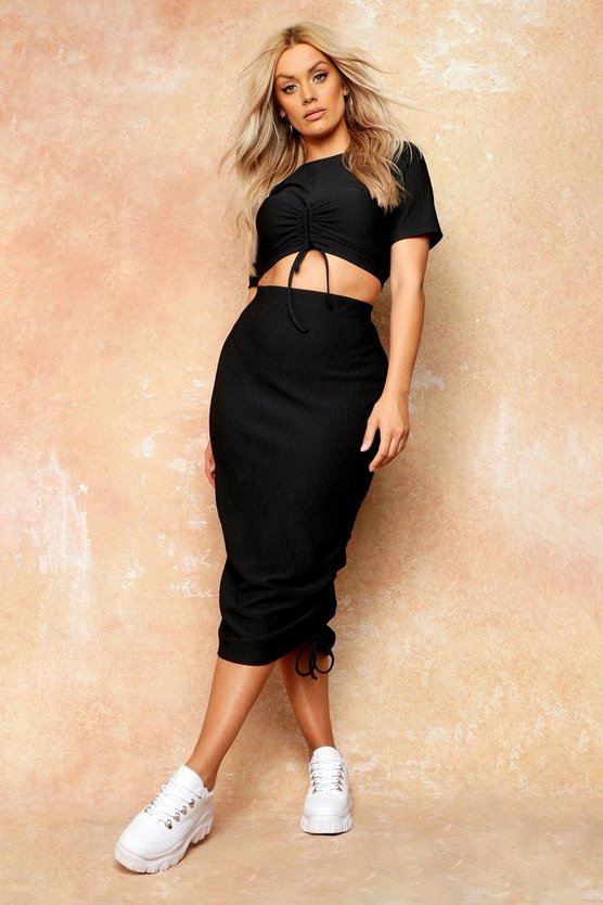 Womens Black Plus Knit High Waisted Ruched Side Midi Skirt