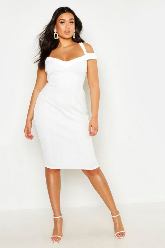 White Plus Double Strap Bardot Bandage Midi Dress