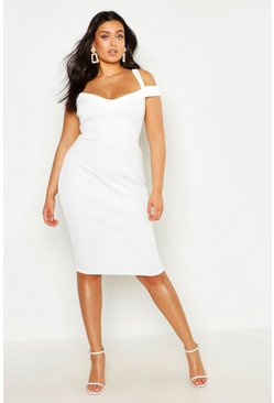 Womens White Plus Double Strap Bardot Bandage Midi Dress