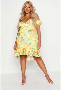 Womens Yellow Plus Lemon Printed Bardot Ruffle Midi Dress