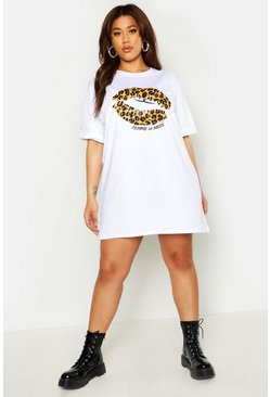 Womens White Plus Leopard Print Lips T-Shirt Dress