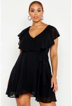 Womens Black Plus Chiffon Ruffle Wrap Skater Dress