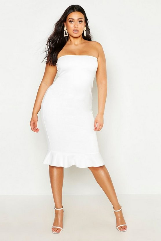 Womens White Plus Bandeau Frill Hem Midi Dress