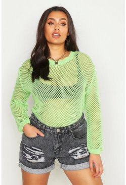 Womens Neon-lime Plus Crochet Oversized Knit Jumper
