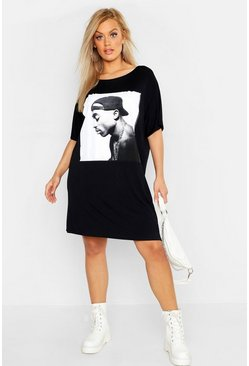 Womens Black Plus Tupac T-Shirt Dress