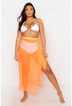 Womens Orange Plus Neon Mesh Beach Skirt