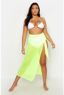 Womens Yellow Plus Neon Mesh Beach Skirt