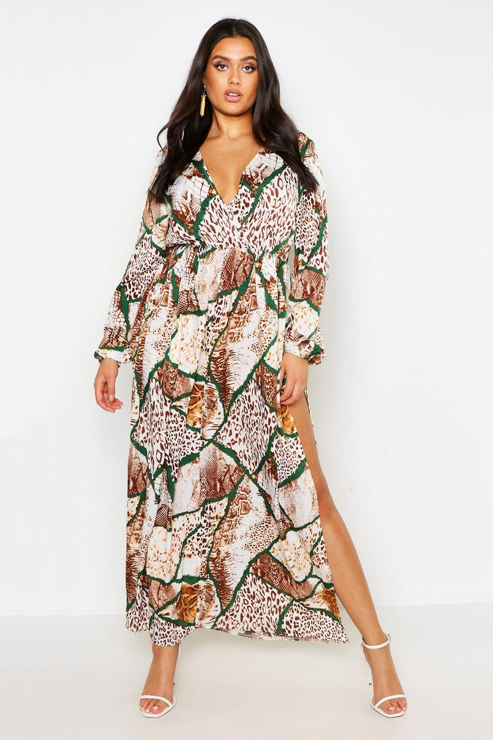 3fc70699a01 Plus Mixed Animal Print Extreme Split Maxi Dress | Boohoo