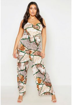 Womens Tan Plus Woven Mixed Animal Print Wide Leg Trouser