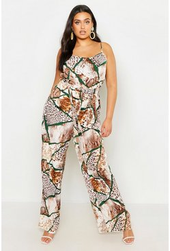 Womens Tan Plus Mixed Animal Print Tie Waist Wide Leg Jumpsuit
