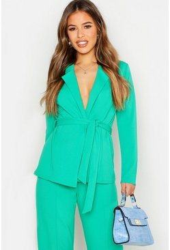 Womens Emerald Petite Tailored Crepe Blazer