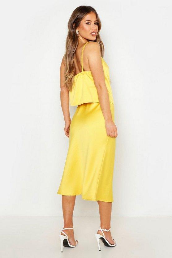 Petite Satin Bias Midi Skirt