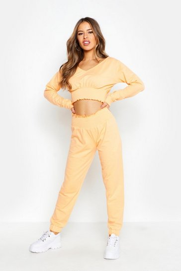 Womens Orange Petite Shirred Waist Jogger