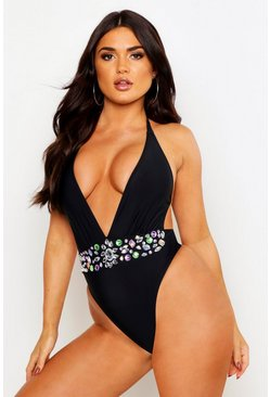 Womens Black Petite Premium Jewelled Plunge Halterneck Swimsuit