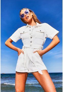 Womens White Petite Denim Utility Belted Romper