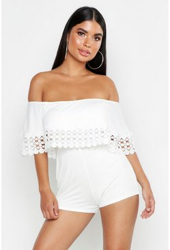 Womens White Petite Bardot Trim Detail Playsuit