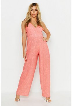Womens Coral Petite Woven Spot Print Ruffle Sleeve Jumpsuit