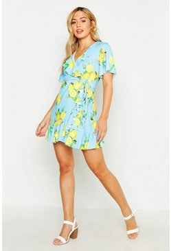 Womens Blue Petite Lemon Print Ruffle Wrap Tea Dress