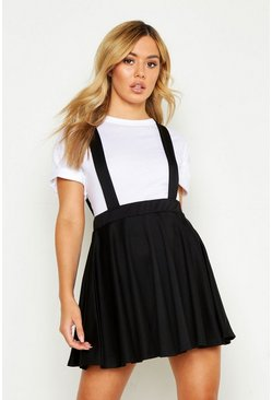 Womens Black Petite Skater Pinafore Skirt