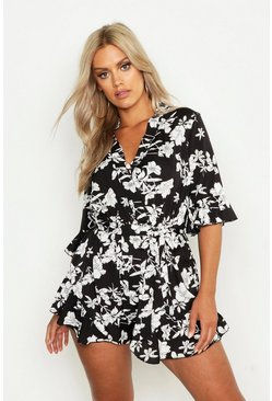 Womens Black Plus Floral Print Ruffle Tie Playsuit