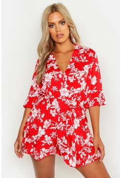 Red Plus Floral Print Ruffle Tie Playsuit