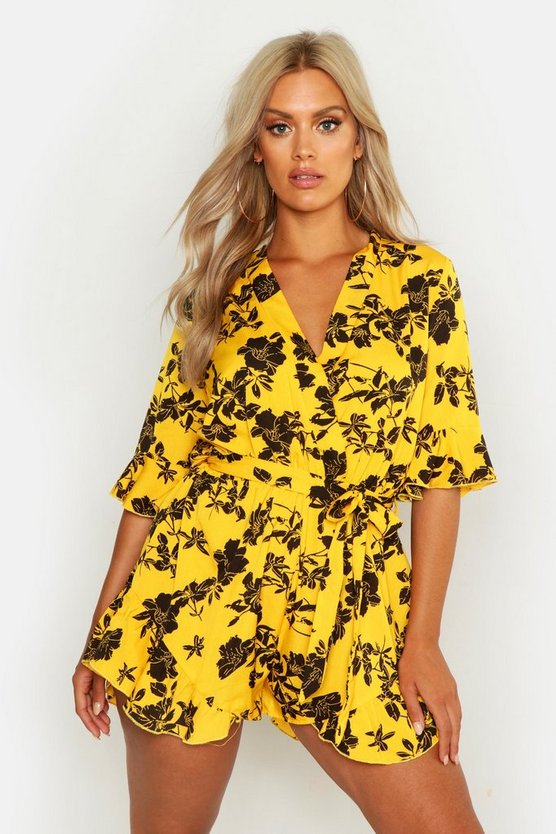 Womens Yellow Plus Floral Print Ruffle Tie Playsuit