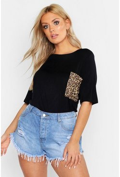 Womens Black Plus Leopard Print Pocket T-Shirt