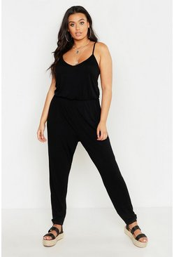Womens Black Plus Basic Cami Jumpsuit