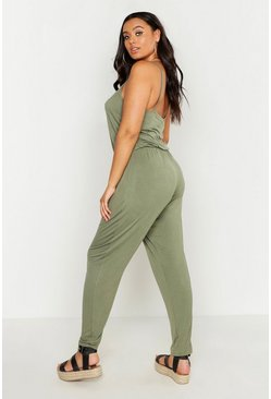 Womens Khaki Plus Basic Cami Jumpsuit