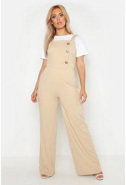 Stone Plus Button Side Pinafore Tailored Jumpsuit