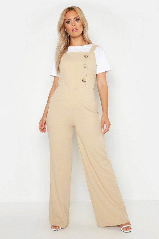 Womens Stone Plus Button Side Pinafore Tailored Jumpsuit