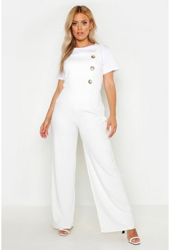 Womens White Plus Button Side Pinafore Tailored Jumpsuit