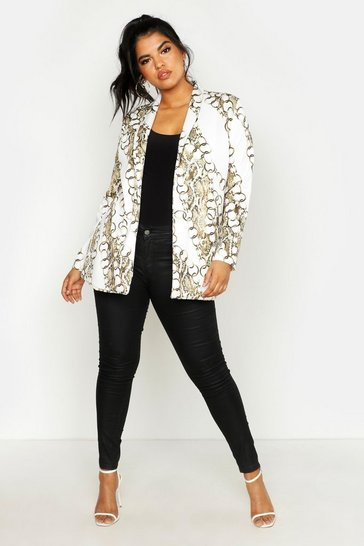 Womens Ivory Plus Chain Print Blazer