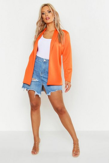 Womens Orange Plus Tailored Blazer