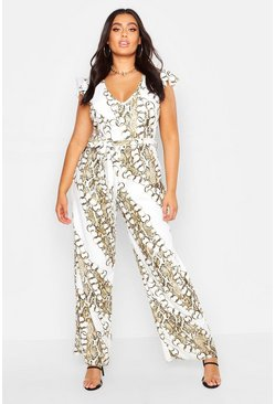 Womens Ivory Plus Chain Print Angel Sleeve Wide Leg Jumpsuit