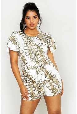 Dam Ivory Plus Chain Print Tie Waist Tailored Short