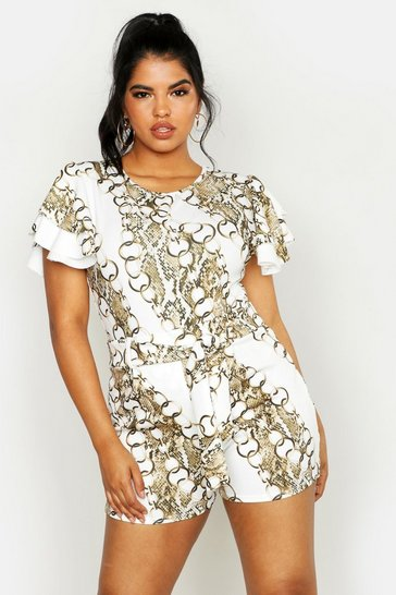 Womens Ivory Plus Chain Print Tie Waist Tailored Short