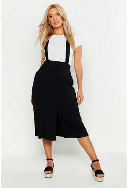 Womens Black Plus Jersey Button Through Midi Pinafore Skirt