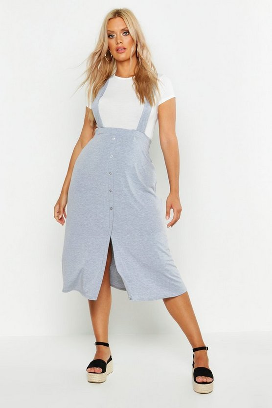 Womens Grey Plus Jersey Button Through Midi Pinafore Skirt