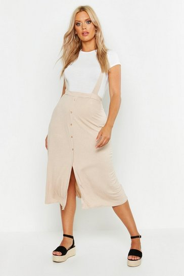 Stone Plus Jersey Button Through Midi Pinafore Skirt