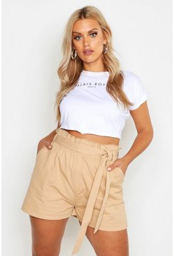 Womens Tan Plus Woven Paperbag Shorts