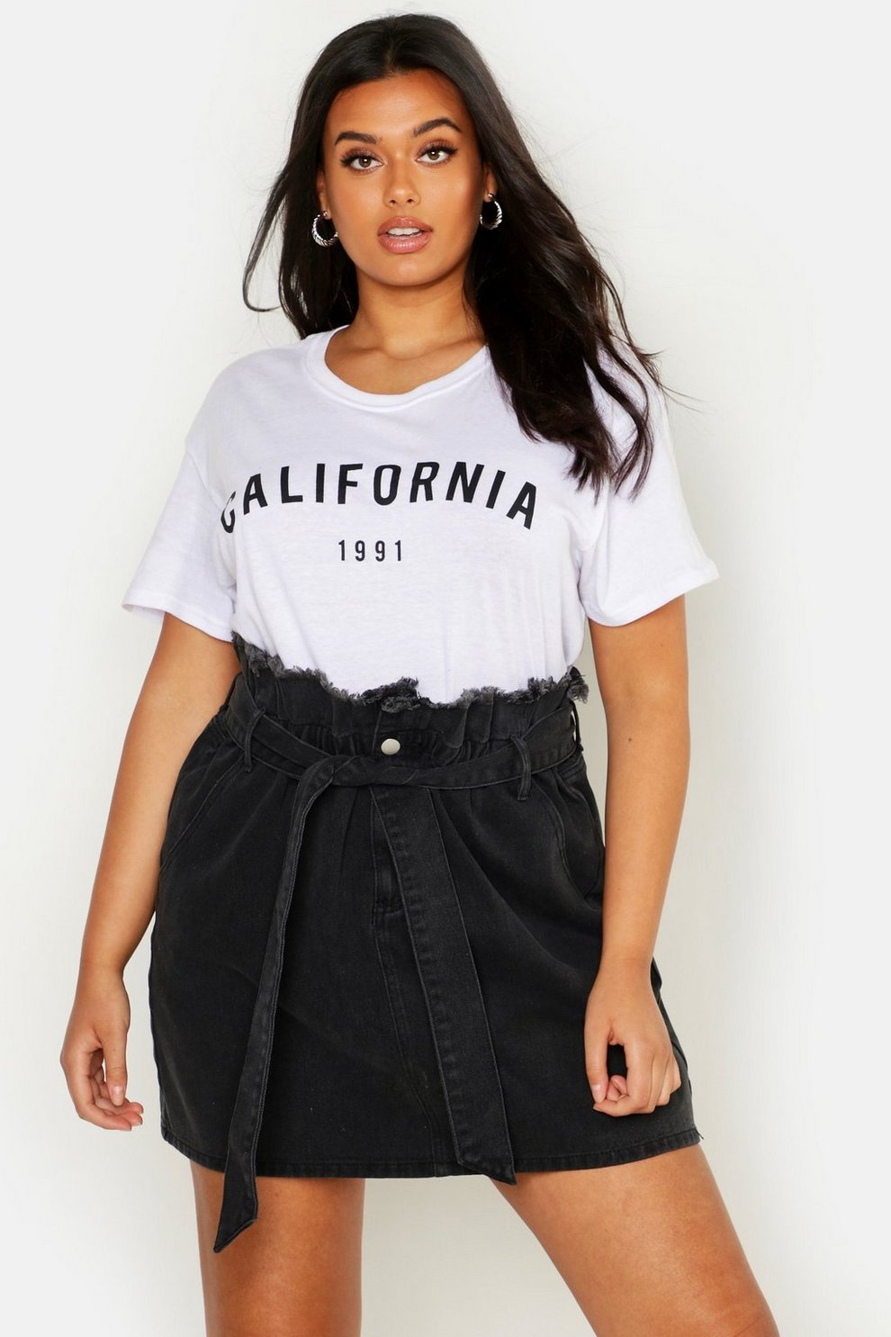 fc9e2a3f29 Womens Black Plus Paperbag Waist Denim Skirt. Hover to zoom