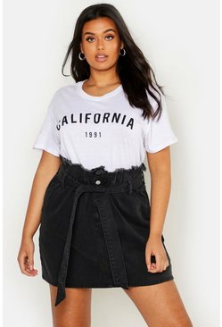 Womens Black Plus Paperbag Waist Denim Skirt