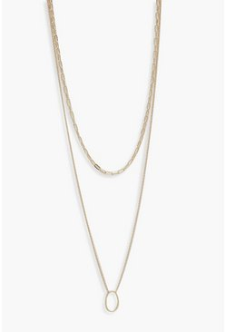 Womens Gold Plus Chain Choker & Oval Layered Necklace