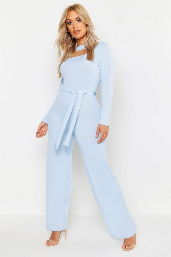 Womens Sky Plus Ribbed Cut Out Tie Waist Jumpsuit
